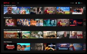 Screenshot of Netflix Personalized Landing Page