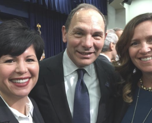 Sunnie Southern, left, CEO of Cincinnati-based Viable Synergy, participated in a White House summit on precision medicine with Indian Hill resident Bob McDonald, former CEO of Procter & Gamble Co. and now U.S. secretary of Veterans Affairs, and Sarah Giolando, chief strategy officer of Edgewood-based St. Elizabeth Healthcare.